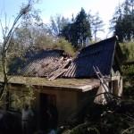 Pád stromu na chatu